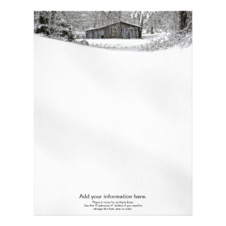 Vintage Barn in Fresh Snow - Text Template Letterhead