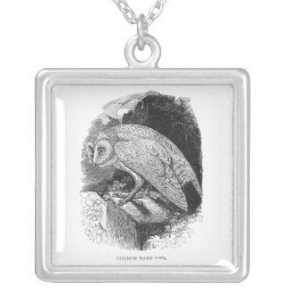 Vintage Barn Owl Illustration Artwork Silver Plated Necklace
