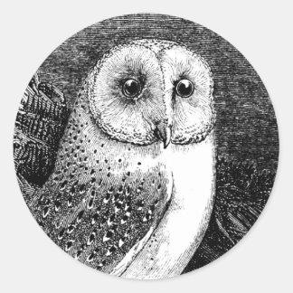 Vintage barn owl illustration large head classic round sticker