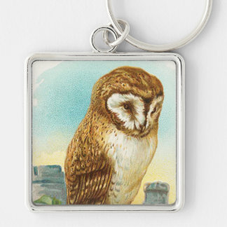 Vintage Barn Owl Silver-Colored Square Keychain