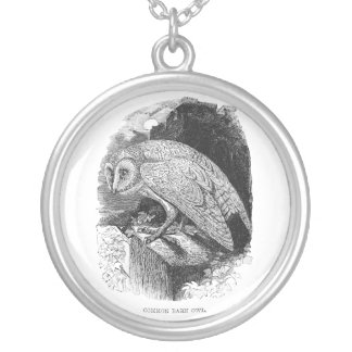 Vintage Barn Owl Silver Plated Necklace