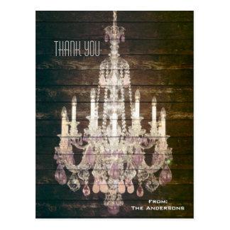 vintage barn purple chandelier wedding thankyou postcards
