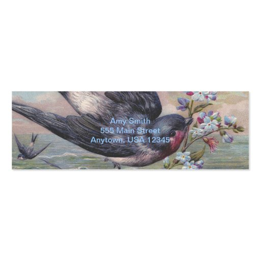 Vintage Barn Swallow and Flowers Business Card Templates