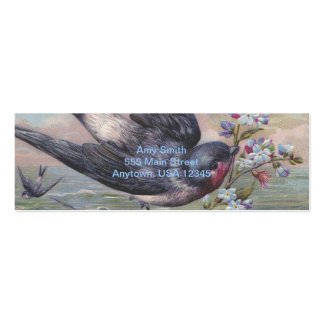 Vintage Barn Swallow and Flowers Double-Sided Mini Business Cards (Pack Of 20)