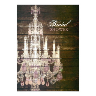 Vintage Barn Wood Chandelier bridal shower Card
