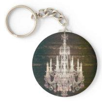 Vintage Barn Wood Chandelier Wedding favor Keychain