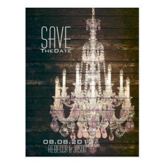 Vintage Barn Wood Chandelier Wedding Save The date Postcard