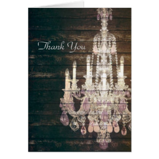 Vintage Barn Wood Chandelier Wedding thank you Card