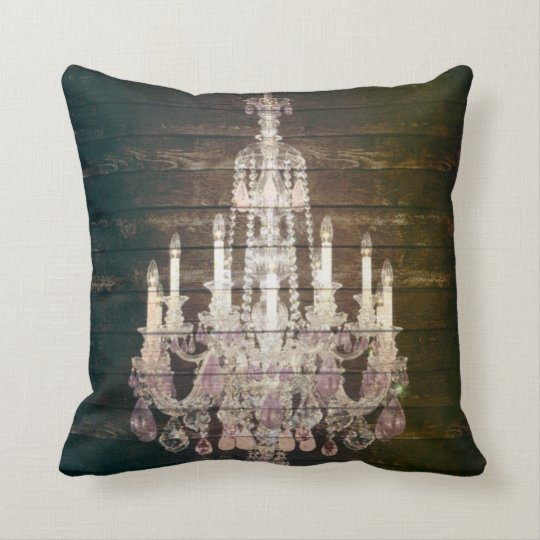 Vintage Barn Wood Chandelier Wedding Throw Pillow