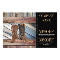 vintage barn wood cowboy boots western fashion flyer