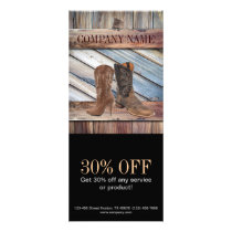 vintage barn wood cowboy boots western fashion rack card