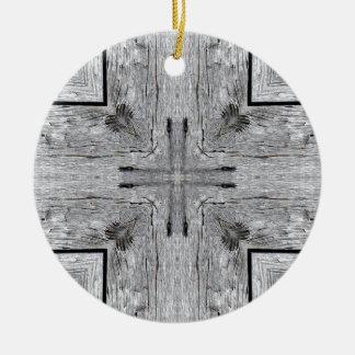 Vintage Barn Wood Kaleidoscope Pattern Ceramic Ornament