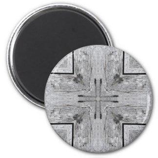 Vintage Barn Wood Kaleidoscope Pattern Magnet
