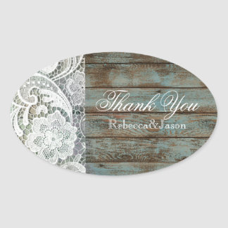 vintage barn wood lace country wedding thank you oval sticker