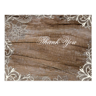 vintage barn wood  lace country wedding thank you post card