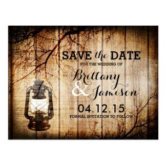 Vintage Barn Wood Lantern Rustic Save the Date Postcard