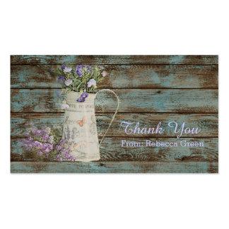 vintage barn wood lavender wedding thank you business card