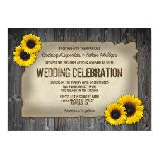 Vintage Barn Wood Sunflower Wedding Invitations