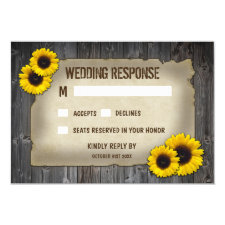 Vintage Barn Wood Sunflower Wedding RSVP Cards