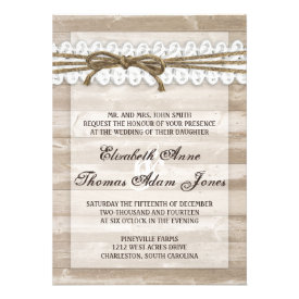 Vintage Barn Wood Twine on Lace Wedding Invitation