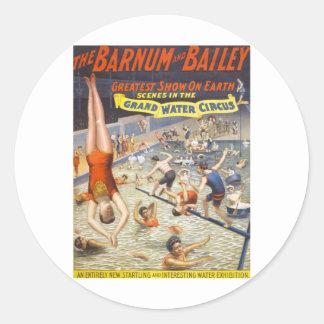 Vintage Barnum y circo de Bailey Pegatina Redonda