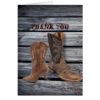 vintage barnwood Cowboy Boots Country thank you Cards