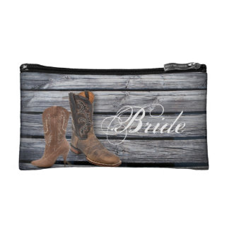 vintage barnwood Cowboy Boots Country wedding Cosmetic Bags