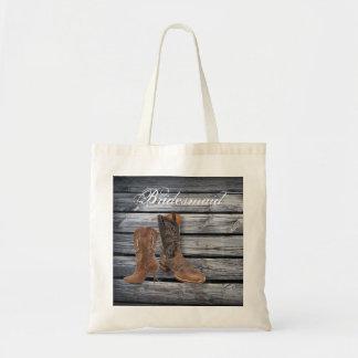 vintage barnwood Cowboy Boots Country wedding Budget Tote Bag