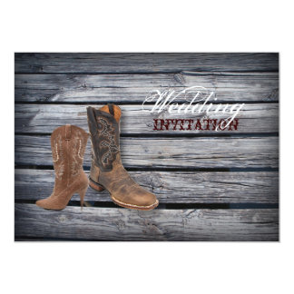 "vintage barnwood Cowboy Boots Country wedding 5"" X 7"" Invitation Card"