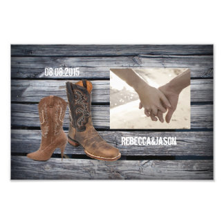 vintage barnwood Cowboy Boots Country wedding Photo Art