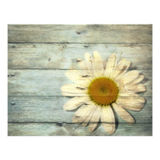 vintage barnwood daisy western country wedding letterhead
