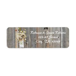vintage barnwood floral spring country wedding return address label
