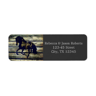 vintage barnwood horses western country wedding label