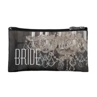vintage barnwood purple chandelier bride cosmetic bags