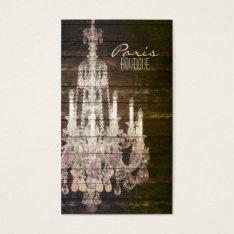 vintage barnwood purple chandelier paris fashion business card at Zazzle