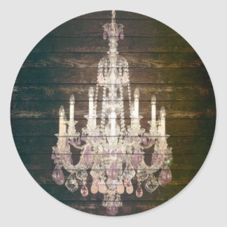 vintage barnwood purple chandelier paris fashion classic round sticker