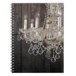 vintage barnwood purple chandelier paris fashion spiral notebooks