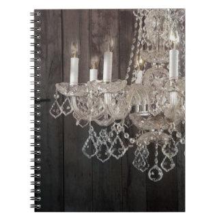vintage barnwood purple chandelier paris fashion notebooks
