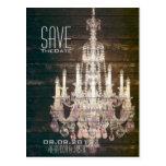 vintage barnwood purple chandelier Save The date Postcard