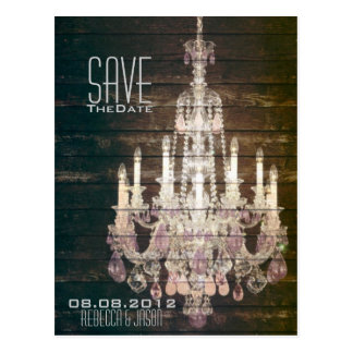 vintage barnwood purple chandelier Save The date Post Card