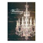 vintage barnwood purple chandelier wedding 5x7 paper invitation card