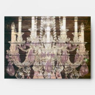 vintage barnwood purple chandelier wedding envelopes
