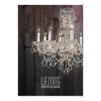 vintage barnwood purple chandelier wedding custom announcements