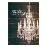 vintage barnwood purple chandelier wedding invite