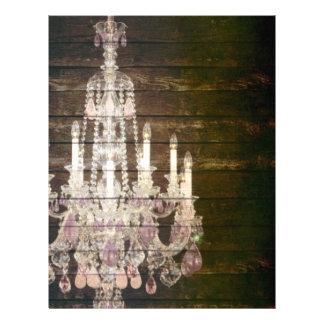 vintage barnwood purple chandelier wedding letterhead template