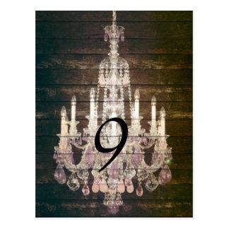 vintage barnwood purple chandelier wedding post card