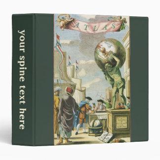 Vintage Baroque Era Atlas Frontispiece World Globe 3 Ring Binder