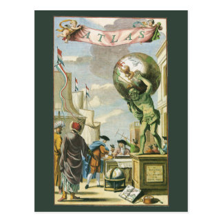 Vintage Baroque Era Atlas Frontispiece World Globe Postcard