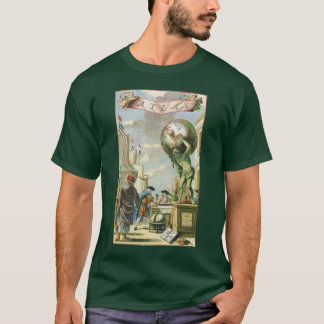 Vintage Baroque Era Atlas Frontispiece World Globe T-Shirt