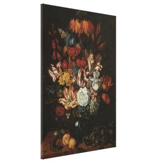Vintage Baroque, Floral Still Life Flowers in Vase Canvas Print
